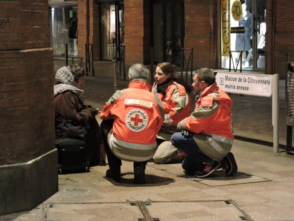 Christmas Helping Homeless.Mobile Teams Assisting Homeless People In France